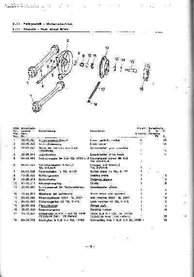 Katalog MZ 150 ETZ, MZ 125 ETZ - 2.11. Chassis - Rear Drive