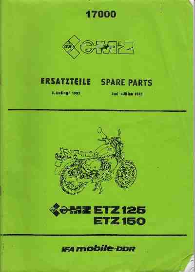 MZ - Katalog MZ 150 ETZ, MZ 125 ETZ