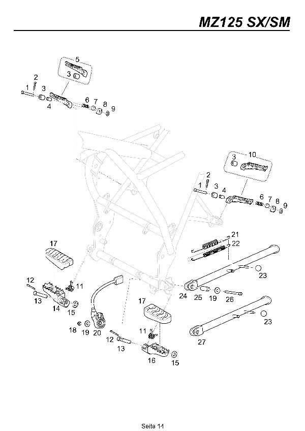 Katalog MZ 125 SX/SM - Fußrasten, Seitenständer /footrest, sidestand - 9