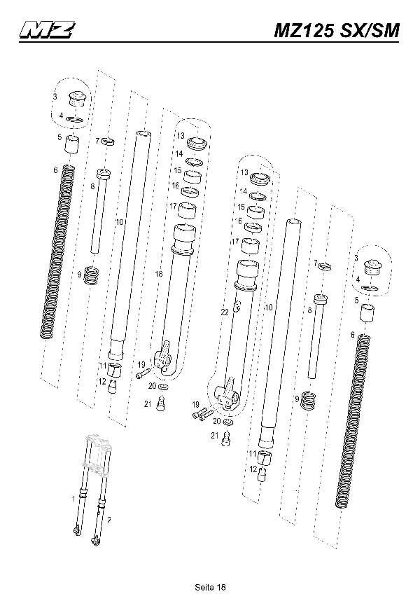 Katalog MZ 125 SX/SM - Telegabel / front fork - 13