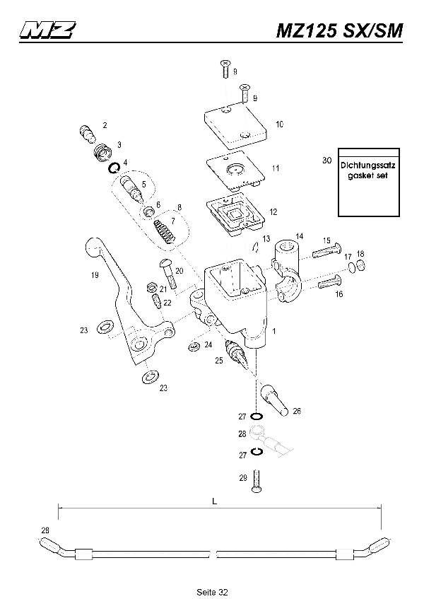 Katalog MZ 125 SX/SM - Hauptbremszylinder vorn / front master cylinder - 27