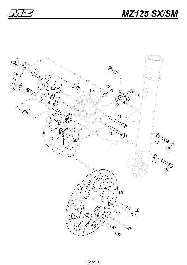 Katalog MZ 125 SX/SM - Bremssattel- & Scheibe vorn / front brake caliper- & disc - 31