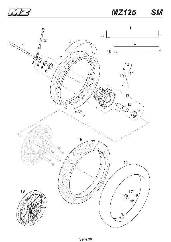 Katalog MZ 125 SX/SM - Vorderrad SM / front wheel SM - 33