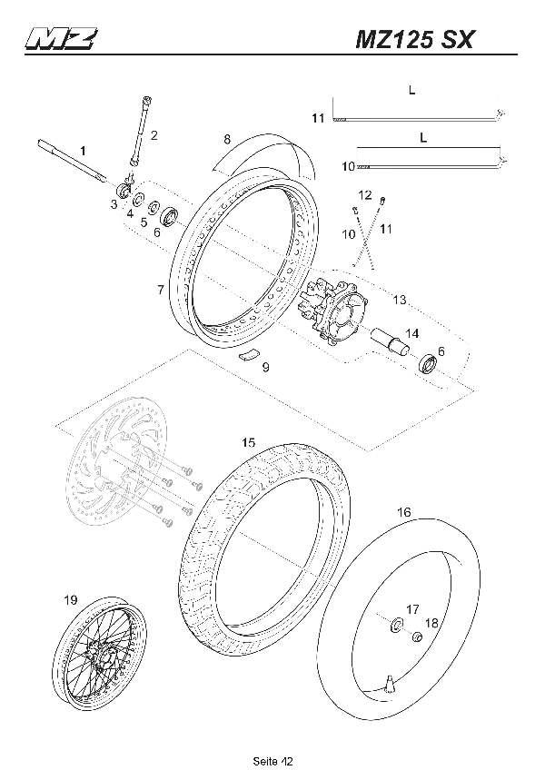 Katalog MZ 125 SX/SM - Vorderrad SX / front wheel SX - 37
