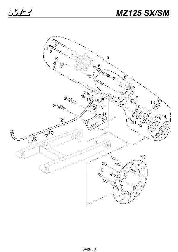 Katalog MZ 125 SX/SM - Bremssattel- & Scheibe hinten / rear brake caliper- & disc - 45