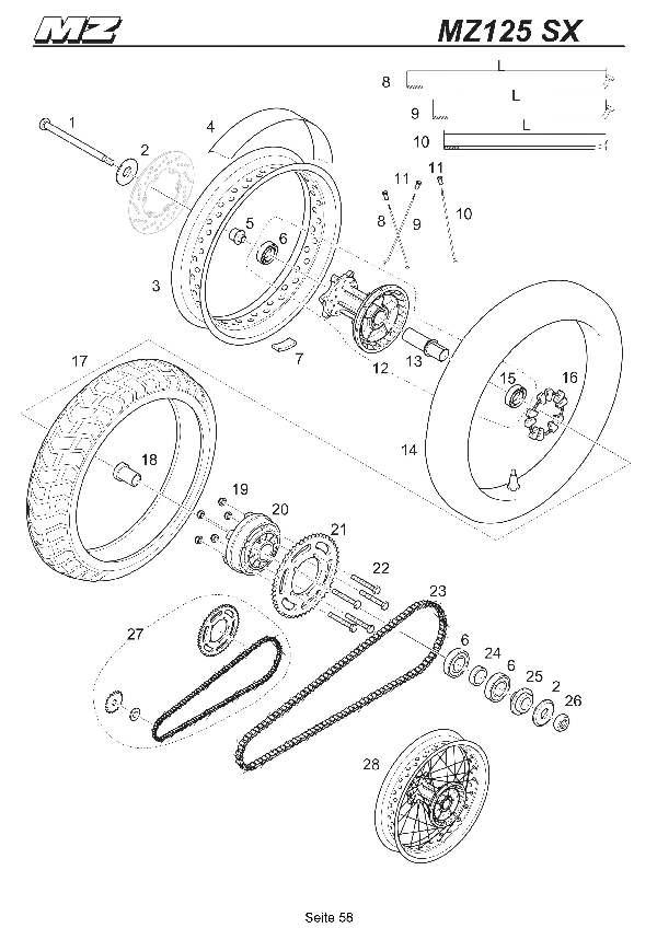 Katalog MZ 125 SX/SM - Hinterrad, Kette SX / rear wheel, chain SX - 53