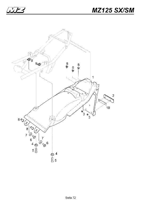 Katalog MZ 125 SX/SM - Kotflügel hinten / rear mudguard - 67