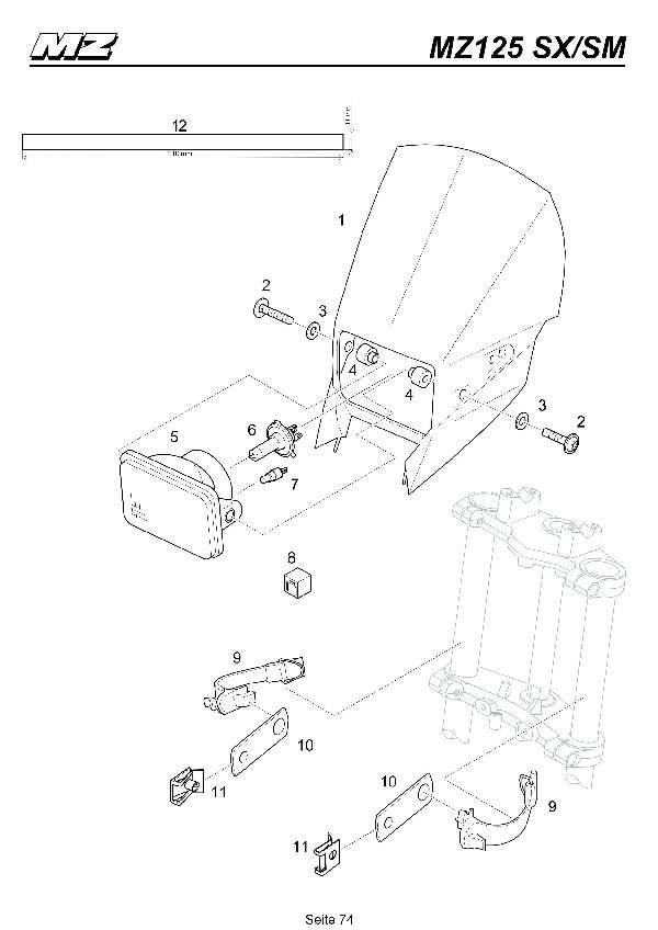 Katalog MZ 125 SX/SM - Frontverkleidung, Scheinwerfer/front covering, headlamp - 69