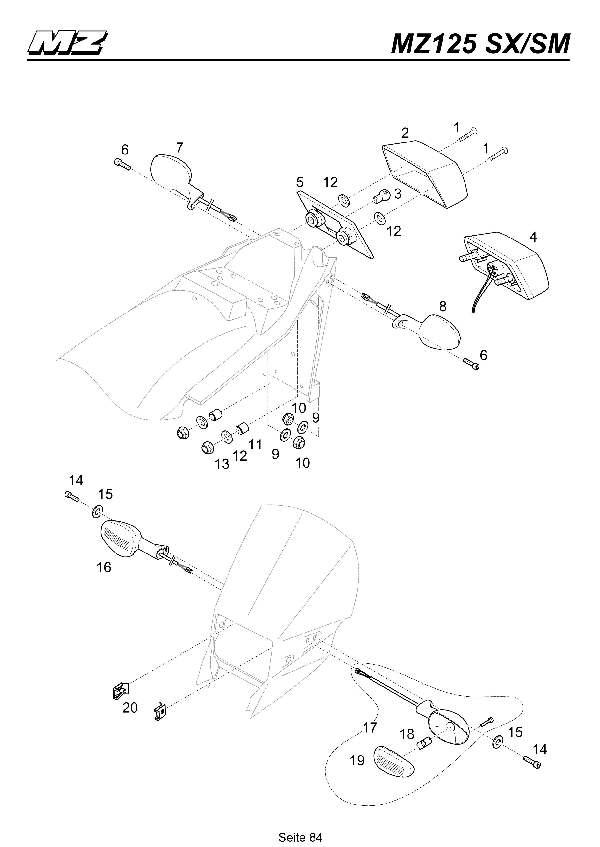 Katalog MZ 125 SX/SM - Blinkleuchten, Rücklicht / indicators, taillight - 79