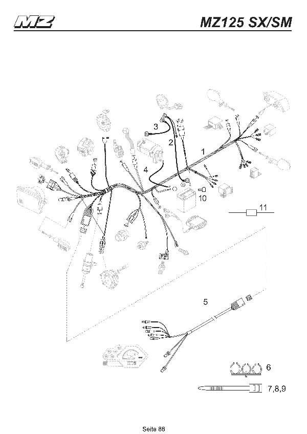 Katalog MZ 125 SX/SM - Kabelbaum, Kabel / wire harness, cabel - 83