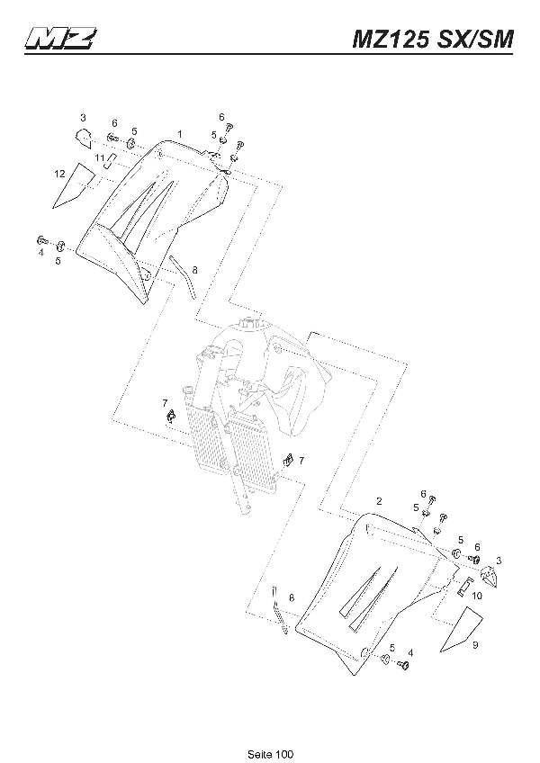 Katalog MZ 125 SX/SM - Tankspoiler / fuel tank spoiler - 95