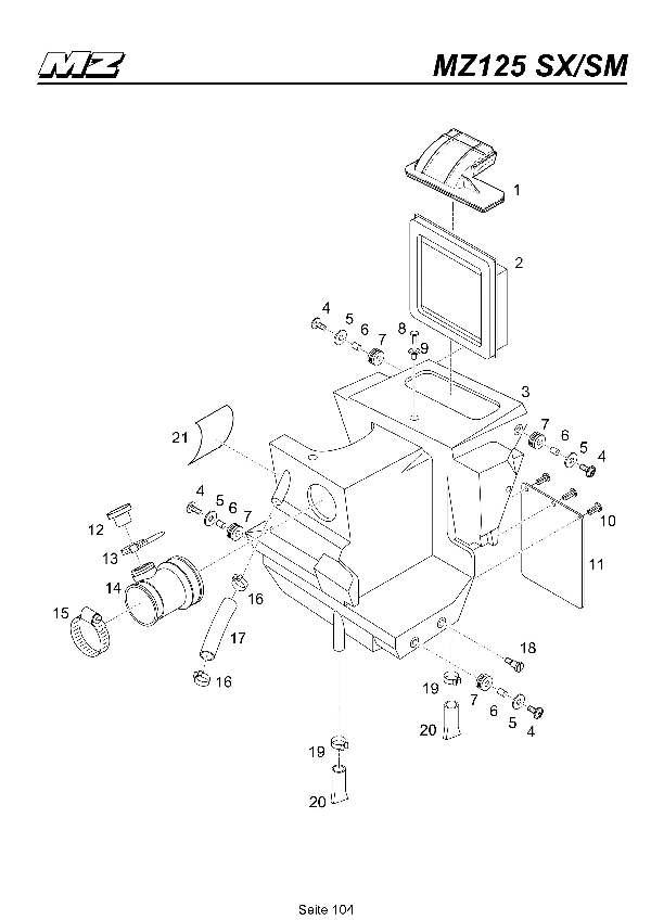 Katalog MZ 125 SX/SM - Ansaugsystem / air box system - 99