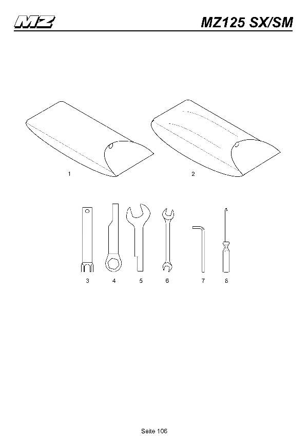 Katalog MZ 125 SX/SM - Bordwerkzeuge / on-board tool kit - 101