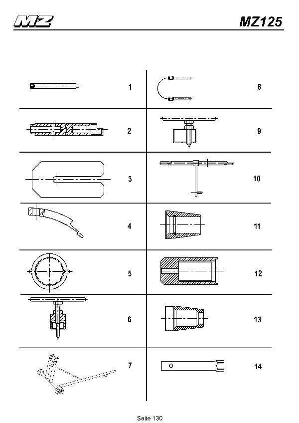 Katalog MZ 125 SX/SM - Spezialwerkzeuge / special tools - 125