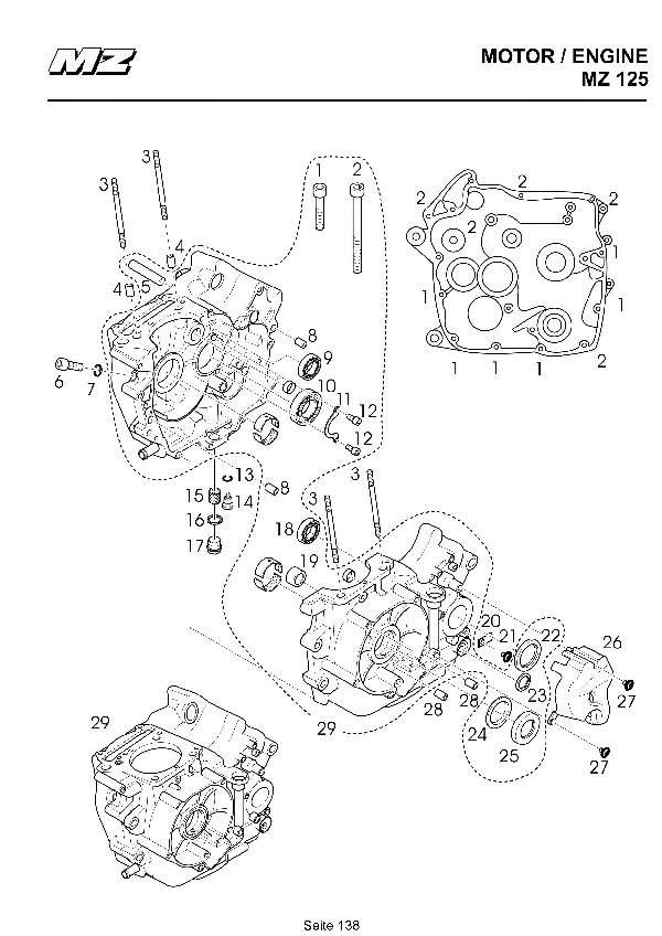 Katalog MZ 125 SX/SM - Kurbelgehäuse / crank case - 132