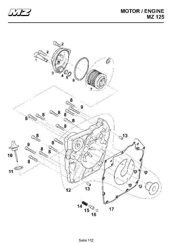 Katalog MZ 125 SX/SM - Kupplungsdeckel Sandguss / clutch cover sand casting - 136