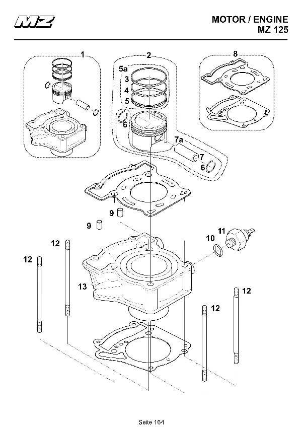 Katalog MZ 125 SX/SM - Zylinder, Kolben / cylinder, piston - 158