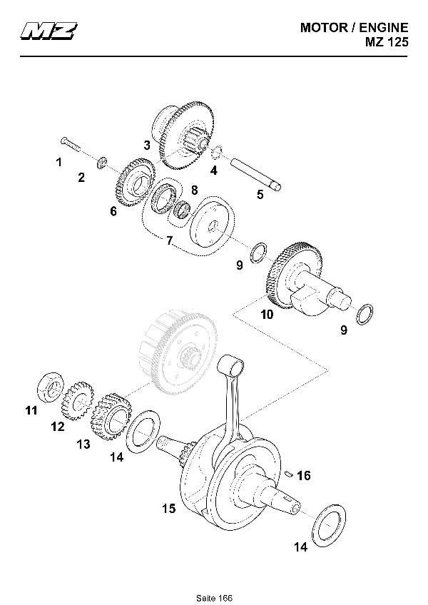 Katalog MZ 125 SX/SM - Kurbelwelle, Ausgleichswelle, Freilauf /crankshaft, balancer, free wheel - 160