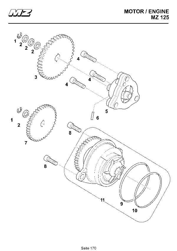 Katalog MZ 125 SX/SM - Ölpumpe, Wasserpumpe / oil pump, water pump - 164