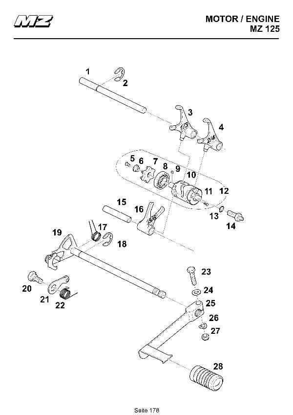 Katalog MZ 125 SX/SM - Schaltbetätigung / gear change assy. - 172