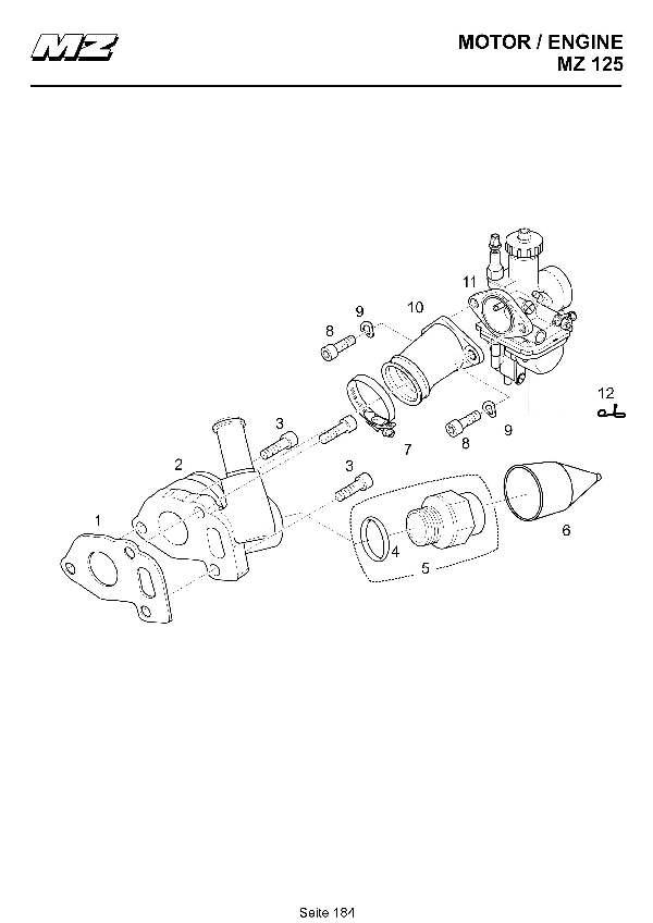 Katalog MZ 125 SX/SM - Vergaser, Ansaugkrümmer / carburetor, intake manifold - 178