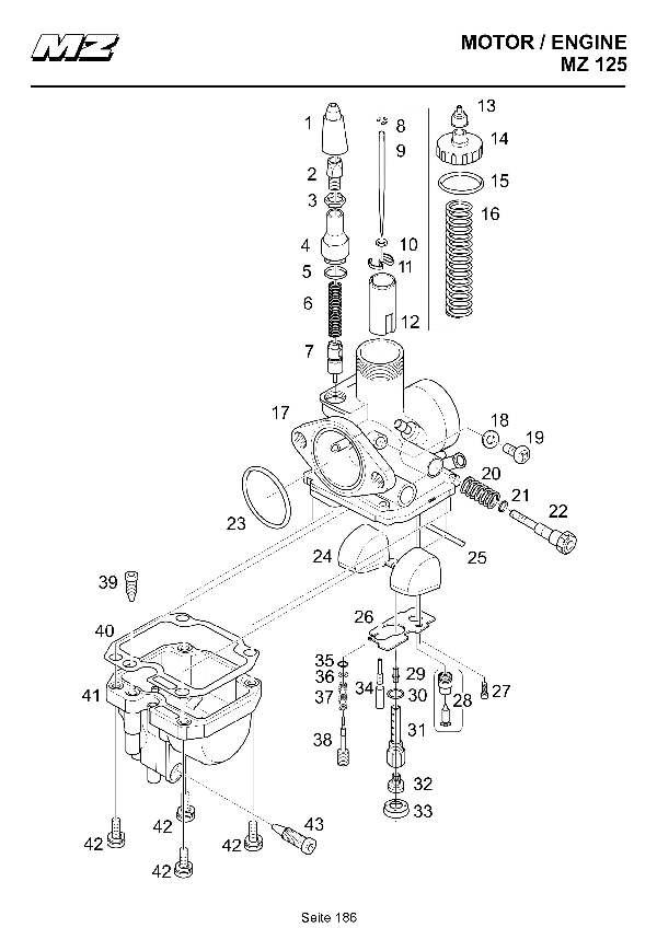 Katalog MZ 125 SX/SM - Vergaser-Ersatzteile / carburetor parts - 180