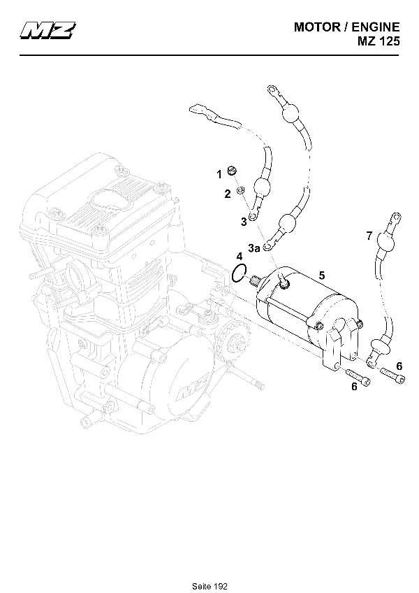 Katalog MZ 125 SX/SM - Elektrostarter / starter motor - 173
