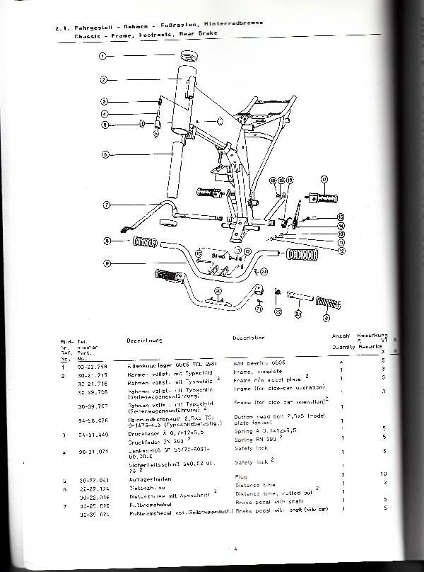 Katalog MZ 251 ETZ - 2.1. Fahrgestell - Rahmen - Fußrasten, Hinterradbremse