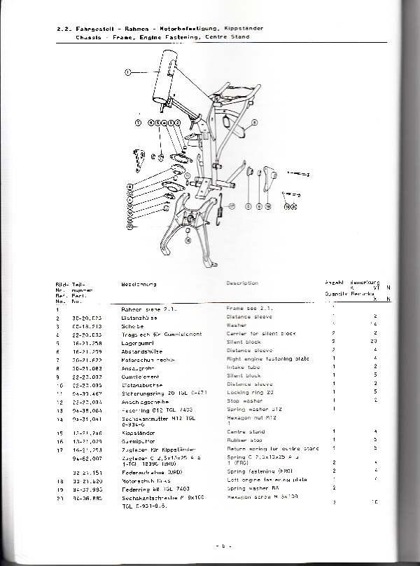 Katalog MZ 251 ETZ - 2.2. Fahrgestell - Rahmen - Motorbefestigung, Kippständer