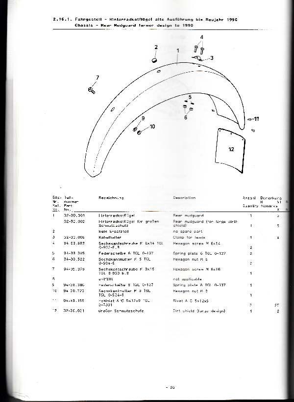 Katalog MZ 251 ETZ - 2.16.1. Fahrgestell - Hinterradkotflügel alte Ausführung bis Baujahr 1990
