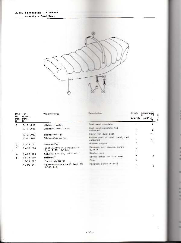 Katalog MZ 251 ETZ - 2.18.  Fahrgestell - Sitzbank