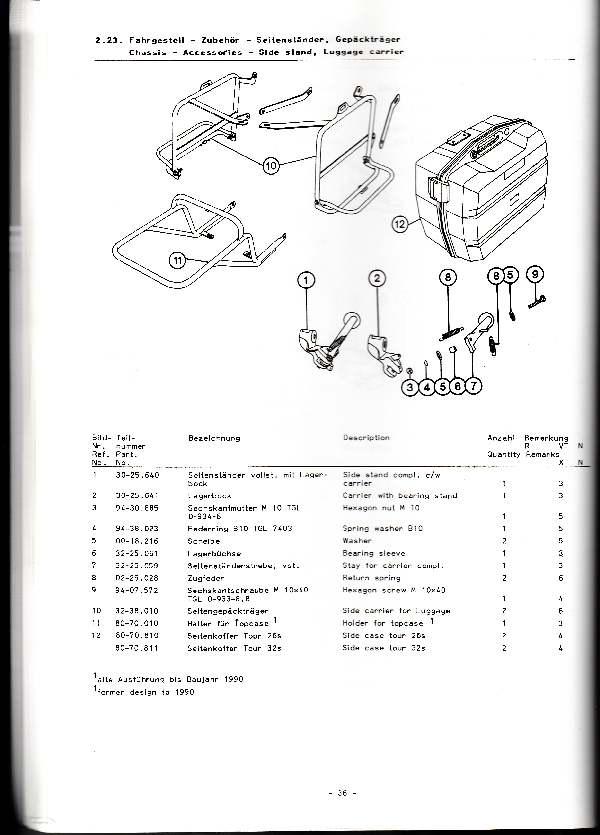 Katalog MZ 251 ETZ - 2.23. Fahrgestell - Zubehör - Seitenständer, Gepäckträger