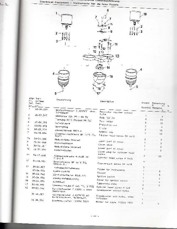 Katalog MZ 251 ETZ - 3.3. Elektrische Ausrüstung - Lususausführung