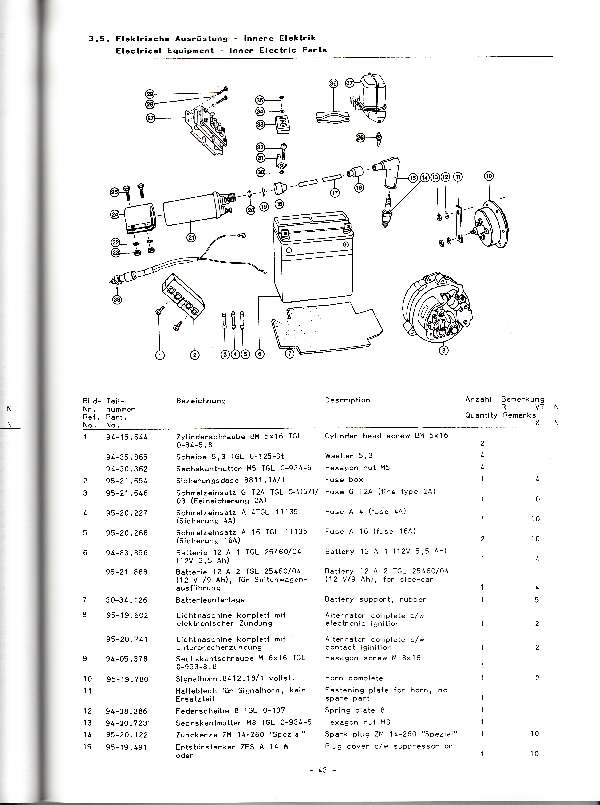 Katalog MZ 251 ETZ - 3.5. Elektrische Ausrüstung - Innere Elektrik