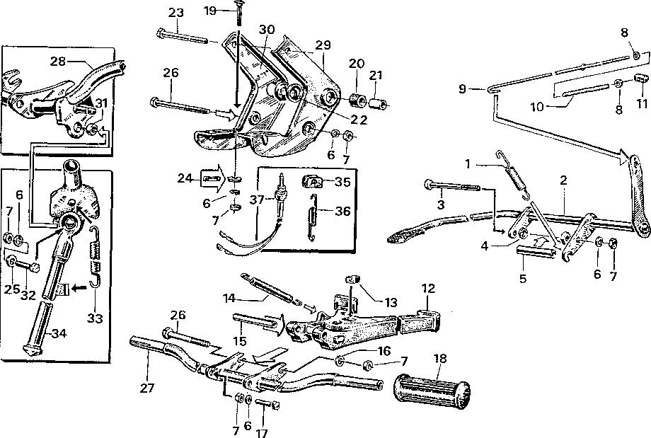Simson S51 - Uložení motor, stojan, stupačky, pedál brzdy