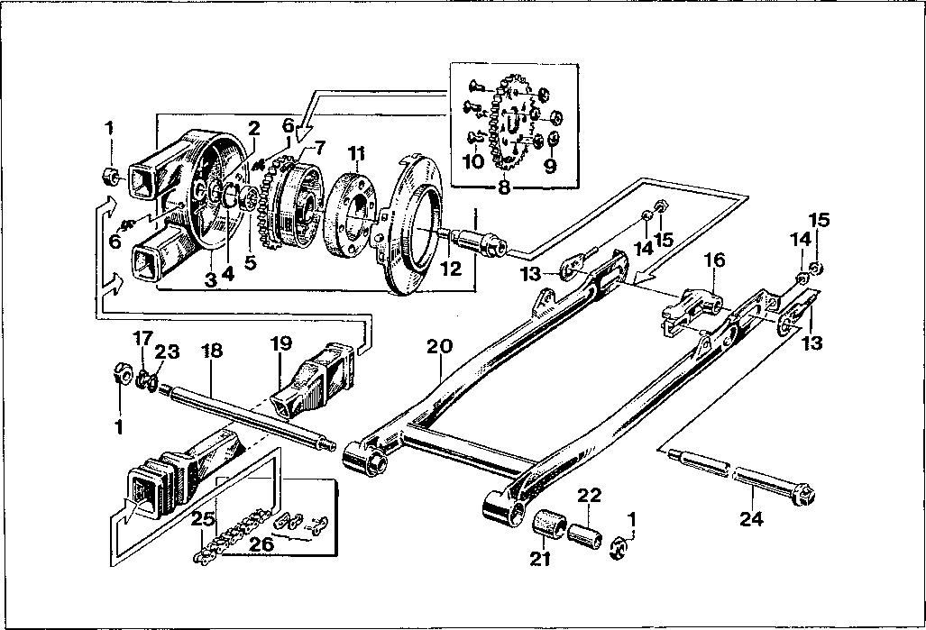 Simson S51 - Pohon zadního kola,  zadní kyvná vidlice