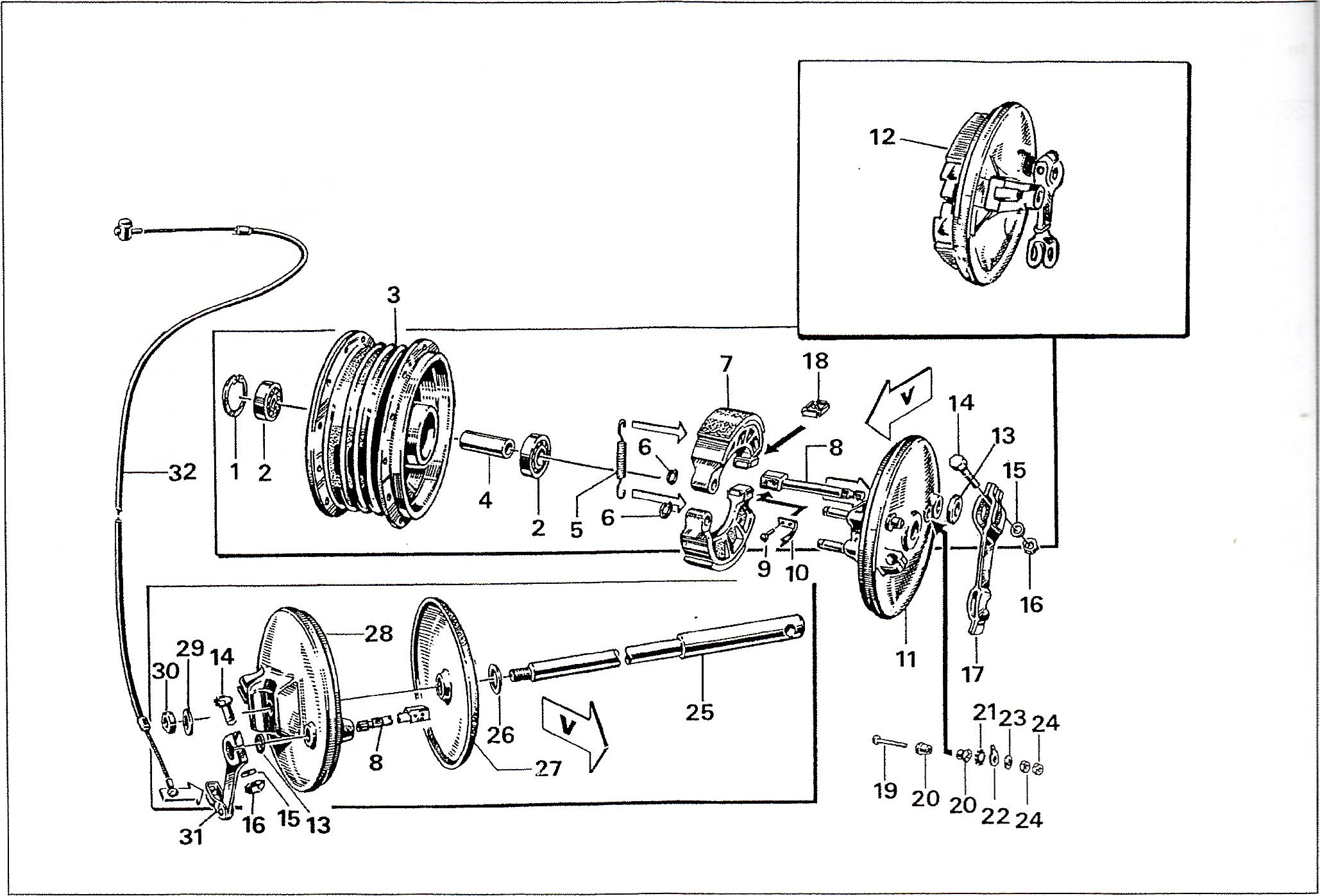 Simson S51 - Bubnová brzda, středy kol, náby
