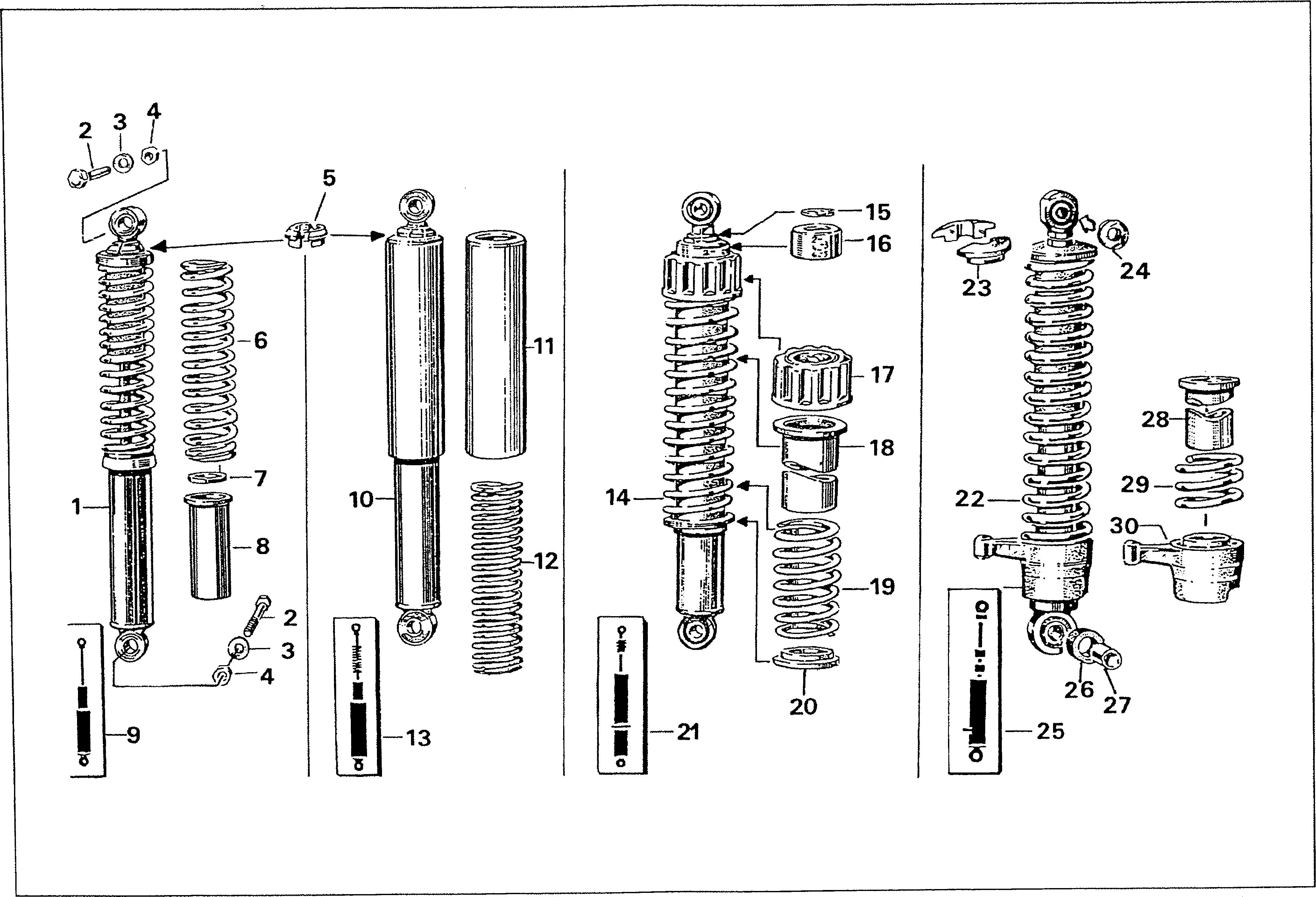 Simson S51 - Zadní pružení, zadní tlumiče