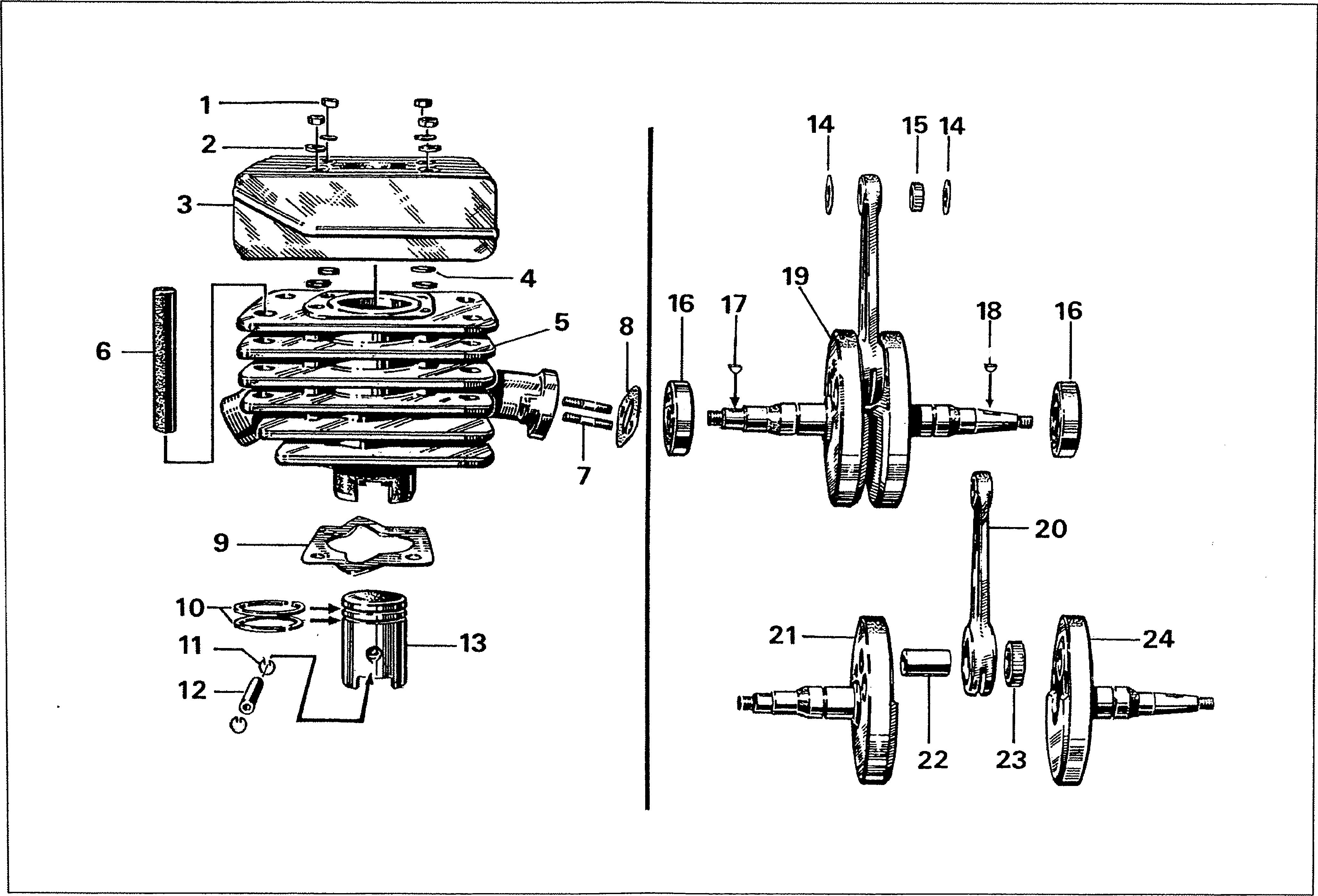 Simson S51 - Válec, klikový hřídel, klika