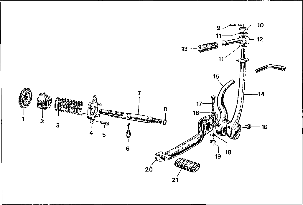 Simson S51 - Startovací páka, řazení
